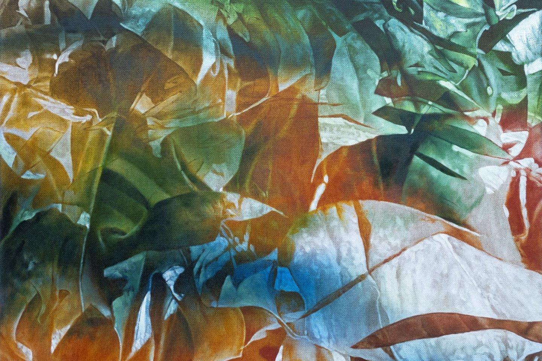 One of Goji\'s oil paintings depicting monstera plants