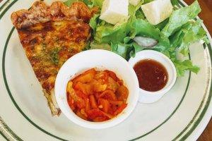 Homemade quiche at Vert Cafe, Gyoda