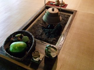 Traditional Japanese hearth at the entrance to the restaurant