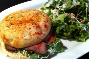 <p>Toasted Sandwiches with Roast Beef and a side salad</p>