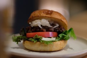 Burgers are a big focus of the lunch and dinner menus