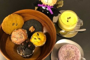 Seasonal pumpkin, purple sweet potato, and charcoal powder infused goodies