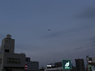 You can even view planes coming in to land at Osaka Itami Airport. This was just a small plane. The Boeings are gigantic