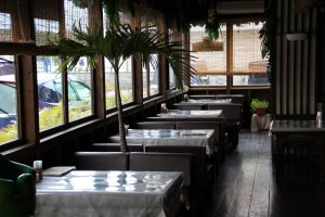 The tropical decor of the Bovino's dining area fits right into Okinawa's subtropical culture