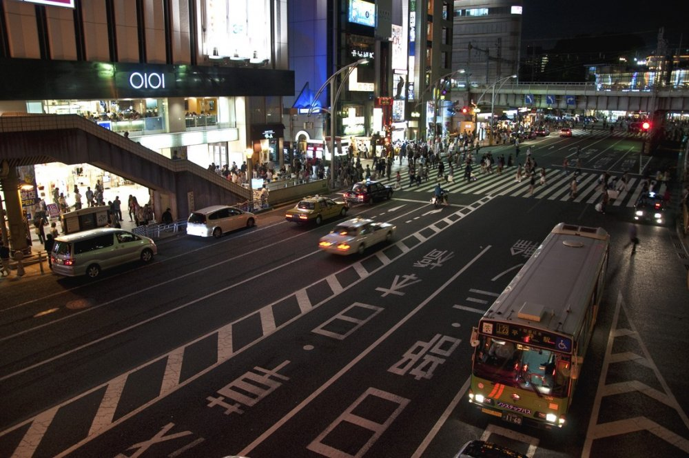 Zebra crossing in front of the South exit of JR Ueno Station. Gateway to Ameyoko Market
