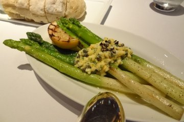 Side Order: Sautéed Green Asparagus with mimosa topping, ¥1,300