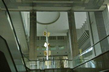 Metallic art in a soaring lobby