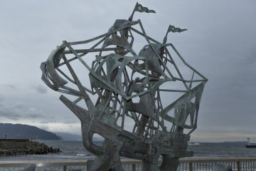 This sculpture commemorates the Japanese warship San Buena Ventura
