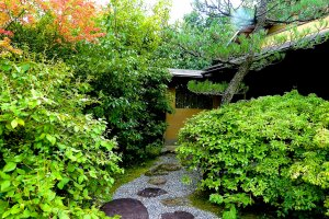 Stepping stones leading to a teahouse