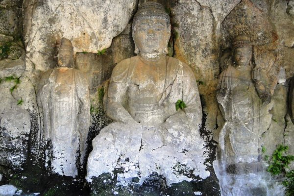 Buddha statues carved into the cliffs outside Usuki town