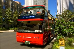 The Sky Hop Bus parked at Bus Stop No.1, Keio Plaza Hotel Tokyo