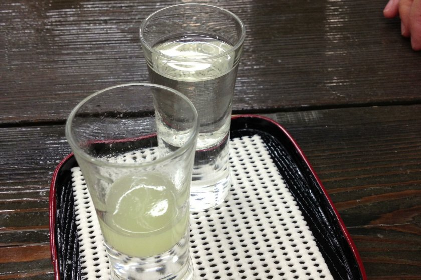 I loved the yuzu (citrus fruit) sake. Lucky for me, it came in a larger glass