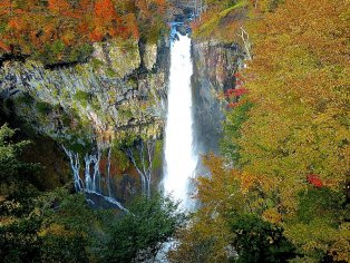 Kegon-no-taki Falls in Autumn