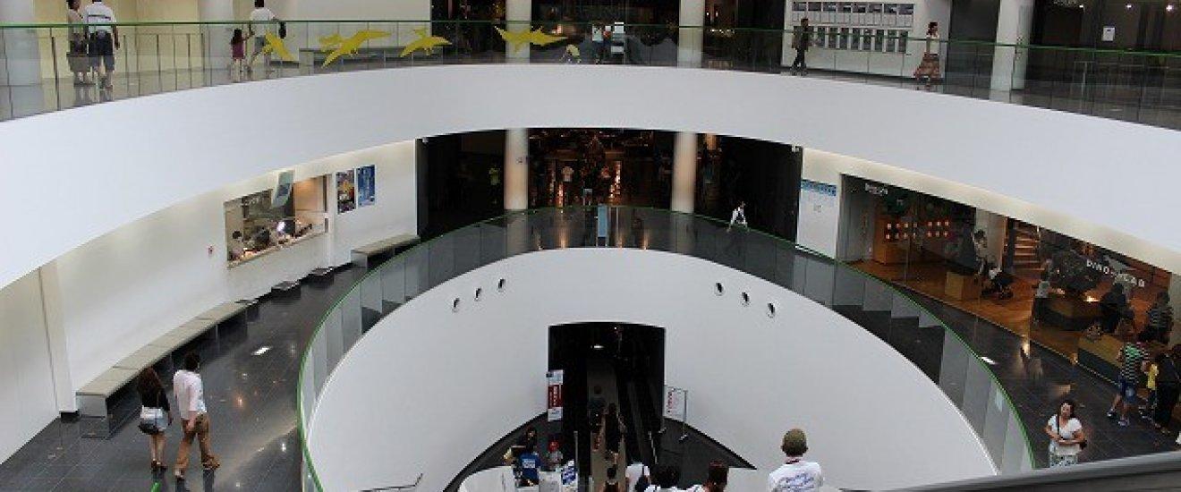 博物館の入場ゲートをくぐると下りの長いエスカレーターが地階の展示場にいざなってくれる