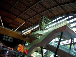 Impressive stairs and amazing ceiling at the Kyushu National Museum entrance hall