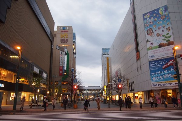 The main street connects directly to Asahikawa station.