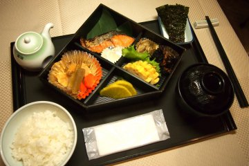 Guests can select the Japanese option for their breakfast set, which typically comes with rice, an assortment of salads and fishes and miso soup. The rice, condiments and drinks are free flow.