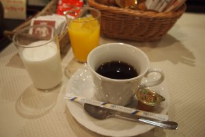 Drinks, together with condiments, cereal and rice are free flow at breakfast for hotel guests.
