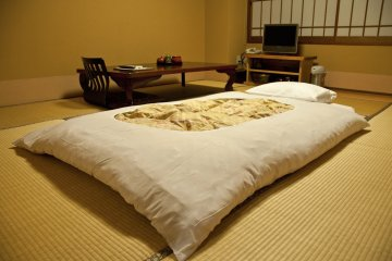 At night the futon is set out on the tatami floor.