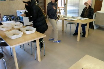Preparation in the culture lab before carving deer antler at the Okumatsushima Jomon Village Museum.