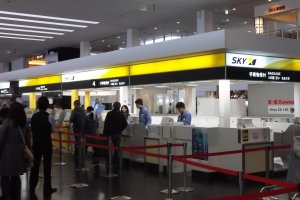 Skymark check-in counters at Kobe Airport