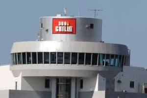360 Grille sits atop the building on the busy intersection of Routes 130 and 58 in Chatan