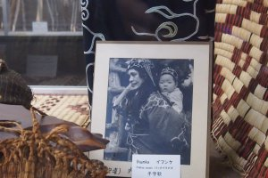 An Ainu mother and her baby in a photography provided by the Kawamura family.