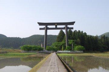 Massive torii gate only a short walk away from B&B Hongu.