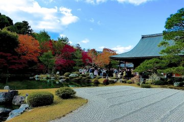 <p>The rock garden is crowed with visitors in autumn</p>