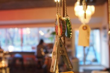 <p>The cafe also has a display sheld with trendy trinkets and accessories.</p>