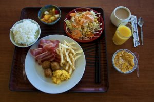 The first morning I went for the western-style breakfast; however, I added some delicious rice.