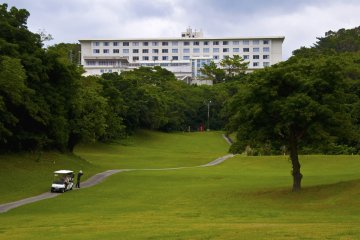 People enjoying their passion for golf in the surroundings of the hotel.