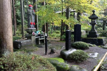 <p>The inner garden features Buddhist statuary at&nbsp;Gyokusenji Temple in the town of Tsuruoka, Yamagata Prefecture</p>