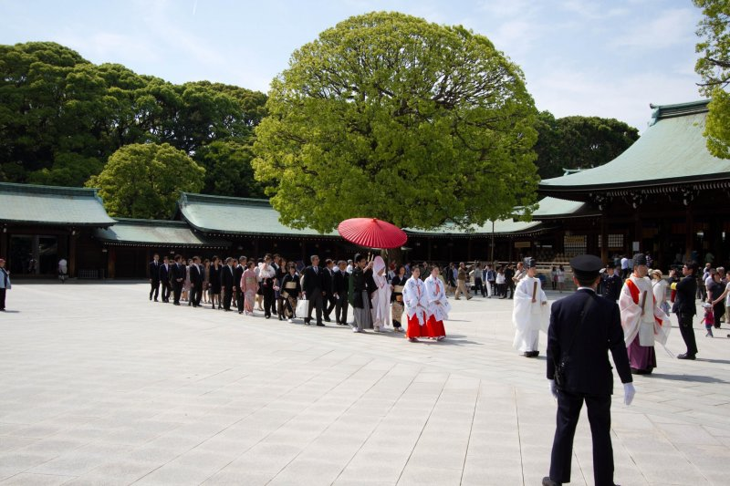 <p>The couple with their families and guests walking across the large open space in front of Meiji Shrine&#39;s main hall</p>