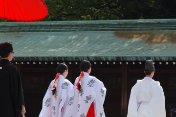 <p>Not only bride and groom are perfectly dressed; the priest and the shrine&#39;s maidens (&#39;miko&#39; in Japanese),&nbsp;who lead the procession, look more than perfect, too.</p>