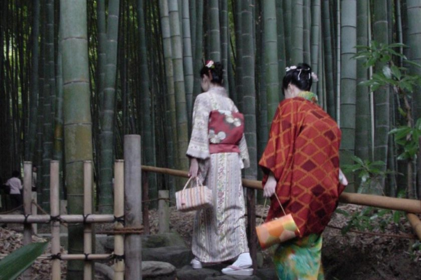 Entrance to Hokoku-ji Temple\'s sublime bamboo grove