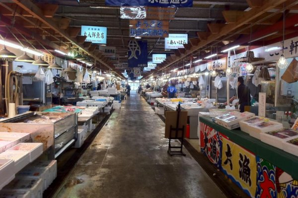 Fishmonger Stalls  at Akita Citizens market one of the freshest fish markets north of Tsukiji