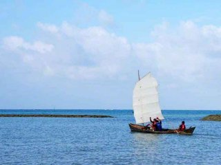 Advertising and airline industry employees may be met, sailing sabani boats.
