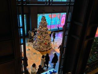 クリスマスツリーは女性客に人気があり、ツリーを背景に競って記念写真を撮る