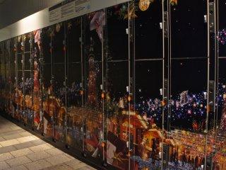 Bahkan loker di Tokyo SkyTree pun bertema natal dengan nuansa iluminasi