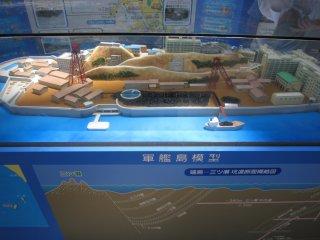 ターミナル内に展示されている軍艦島の模型