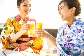 Why not enjoy summer in one of the beer gardens near Namba