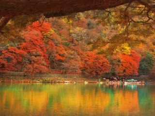 The autumn foliage and its reflection in Hozugawa river
