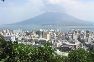 Sakurajima from the top of Shiroyama. Saigo might have seen this before he killed himself here