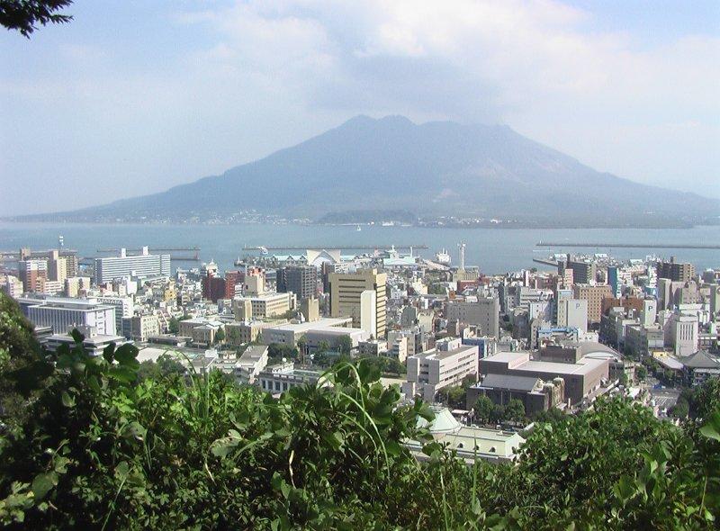 Sakurajima from the top of Shiroyama. Saigo might have seen this before he killed himself here