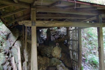 <p>A humble shrine on site</p>