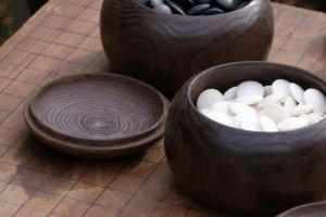 Stones and board for the traditional game of GO