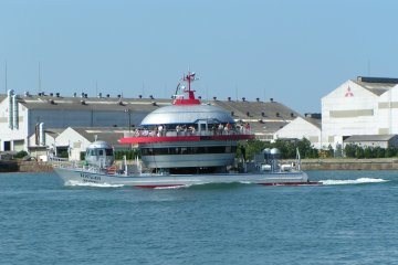 The pleasure boat cruising the Kanmon Straits