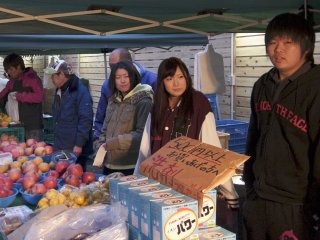 One of the many stalls braving the cold mornings to sell goods.