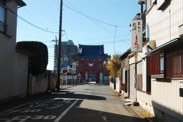 The view of classic red gate from the main road